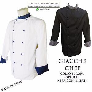GIACCA DA CUOCO CHEF CUCINA UNISEX ristorante pizzeria MASTERCHEF 100%COTONE