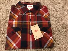 NWT Men's Levis Longsleeve Button Front Flannel Shirt Red Plaid Large MSRP $50