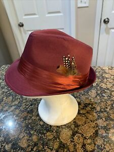 Bruno Capelo Burgundy Stingy Brim Fedora Hat SD-127 With Feather L / XL