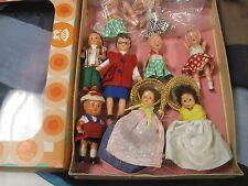 Vintage marked Germany  Miniature Dollhouse 8 Dolls in Konigseer puppen box