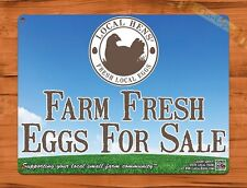 TIN SIGN Farm Fresh Eggs For Sale Blue Sky Rooster Chicken Decor Farm Barn Coop