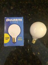 (9) Bulbrite 15W 130V G12 White Candelabra Base Globe Lightbulbs