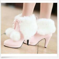 Fashion Princess Sweet Womens Lace Up Ball Faux Fur Mid Kitten Heel Ankle Boots