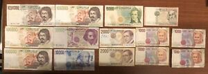 474000 lire 14 banconote dierse da 1000 a 100000 lire LOTTO 3399