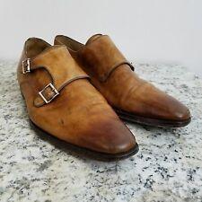 Magnanni Mens Double Monk Strap Shoes 11 Brown Leather Dress Oxfords