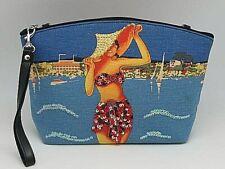 PURSE Wristlet / Shoulder Bag / Clutch BEADED SEQUINNED - Bikini Woman Landscape