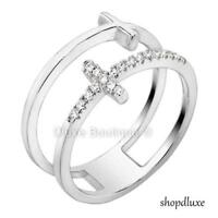 Women's .925 Sterling Silver Cubic Zirconia Double Cross Wide Band Fashion Ring