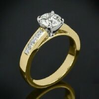 1.80Ct Ct Round Cut Diamond 4 Prong Solitaire Engagement Ring 14K Yellow Gold Ov