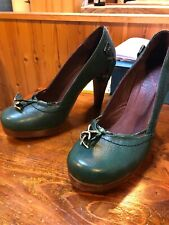 Women's Hard Hearted Harlot high heel green shoes size 4/36 good condition