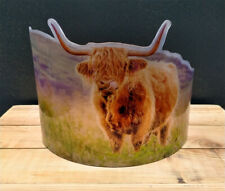 More details for highland cow shabby chic vintage antique curved simulated glass style suncatcher