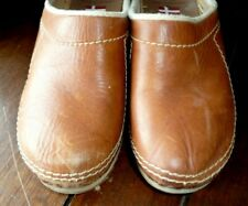 Vtg Olof Daughters Holie Closed toe Clogs Wooden Leather Denmark Euro size 37