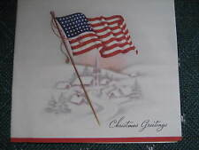 "Vtg 1930's American Flag PATRIOTIC Christmas Card Signed ""Country Tis Of Thee"""