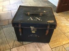 Vintage Travel Trunk Black Canvas & Leather. Original Labels