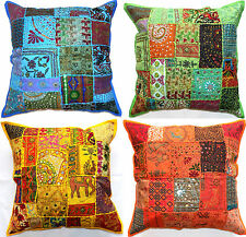 "Large Cushion Cover 24x24"" 60cm Zip Floor Floral Patchwork Indian mirror sequin"