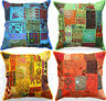 """Large Cushion Cover 24x24"""" 60cm Zip Floor Floral Patchwork Indian mirror sequin"""
