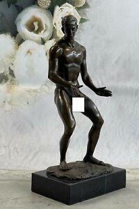 BRONZE STATUE--MALE NUDE--GAY INTEREST---BODYBUILDER MUSCULAR ART DECO FIGURINE