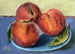 Still Life with Peaches original oil painting Impressionism