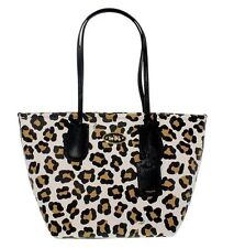 COACH White Multi Taxi Topzip Embossed Ocelot Print Leather Tote F33969 $350 NWT