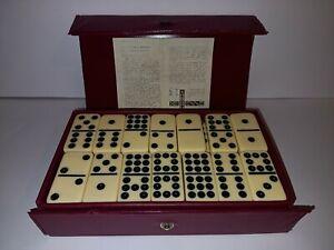 Vintage Double Nine Dominoes In Vinyl Case Set Of 56