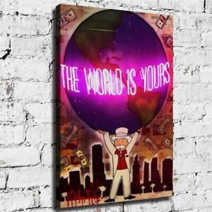 Alec Monopolys Kunst Graffiti The World Is Yours , Painting Canvas Modern Art