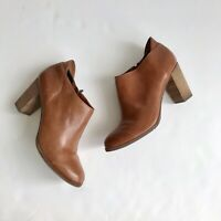 Dolce Vita Tan Leather Ankle Round Toe Chunky Square Heel Zip Up Short Boots 10