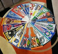 LOT OF 18 VINTAGE SPORTS PENNANTS EARLY 1990'S LATE 1980'S MLB NFL NBA NCAA NEW