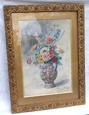 Flowers Bouquet Madeleine Lemaire Gilt Framed French Watercolor Signed late 19 C