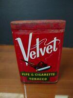 Vintage Velvet Pipe And Cigarette Smoking TobaccoPocket Tin