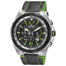 Cititzen Eco-Drive BRT Men's CA4144-01E Chronograph Green Leather Strap Watch