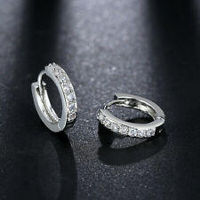 Single Row Crystal Cz Hoop Earrings Simple Women White Gold Plated Micro-inlay