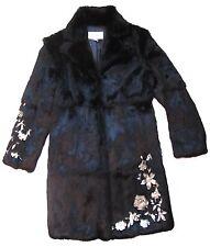 ÉBÈNE PATRICK ASSULINE Rabbit Fur Coat With Floral Appliques, size 4