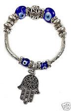 Hamsa Hand Bracelet Blue Crystals Evil Eye Beads Judaism Israel Luck Charm