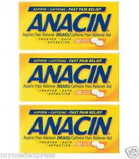 3 PACK Anacin Aspirin Caffeine Pain Reliever Aid 100CT 363736200459DT