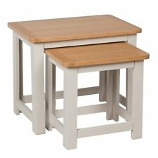 Sussex Grey Painted Nest Of Tables / Oak Living Room Nested / Solid Hardwood NEW