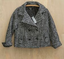 Talbots Jackie Fit Wool Alpaca Blend Black White Tweed Jacket Blazer Size 10