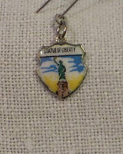 Vintage Reu Sterling/Enameled Statue of Liberty New York Shield Bracelet Charm
