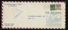 MALAYA KG6 1941 FIRST FLIGHT PAN AM...SINGAPORE to GUAM + CENSOR