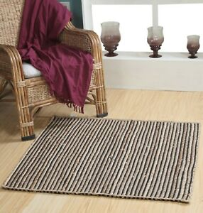 CHAKKAR DARK Stripe Braided Jute Square Rug Medium Large Extra Large