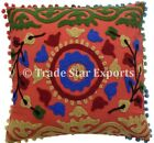 """Indian Vintage Suzani Pillow Cases 16X16"""" Embroidered Cotton Throw Cushion Cover"""