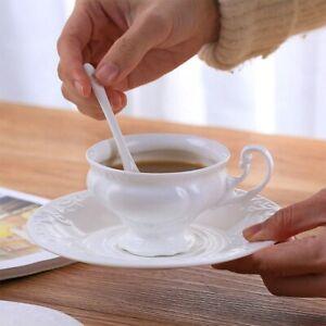 Ceramic Tea Coffee Cup Saucer Porcelain Elegant White Vintage Teacup Spoon Set