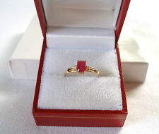 Celine F. -  .80 Ct. Ruby Solitaire & Diamond  10k Gold Ring