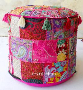 """Indian Handmade Bohemian Pouf Ottoman Stool Floor Pillow Chair Pouffe Pouf Pink"""""""