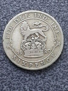 1920  George V  silver Sixpence -