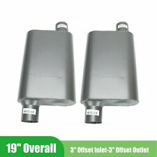 Set Of 2 Chambered Performance Race Mufflers 3 Inches In Offset Out