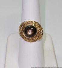 Mid Century Free Form Natural Black Star Sapphire Mens Ladies Unisex Ring
