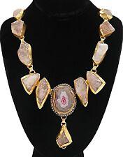 Druzy Solar Quartz Pale Pink Gold Plated Statement Necklace