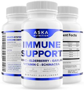 Immune System Booster Support - Vitamin C, Elderberry, Zinc, Echinacea, Garlic
