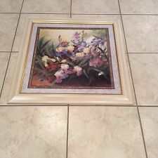Beautiful Colorful Assorted Color Iris White Frame Homco Interior Picture 32x32