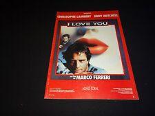 eddy mitchell I LOVE YOU  Marco Ferreri   scenario dossier presse cinema