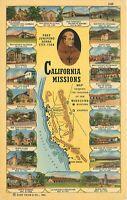 Linen Postcard CA E337 California Missions Fray Junipero Serra Multi View Map